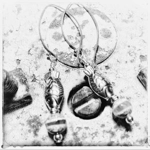 OneHealingStone Jewelry - OOAK STERLING EARWIRES Fish Earrings by Susan Ray